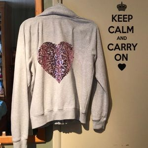 Tops - Pink Heart Sequin Zip-Up Hoodie
